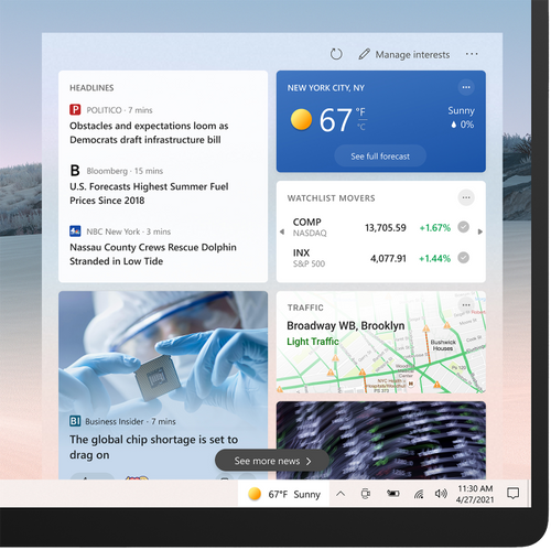 News and interests on the Windows taskbar