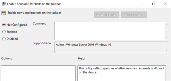 Configuring news and interests via Group Policy