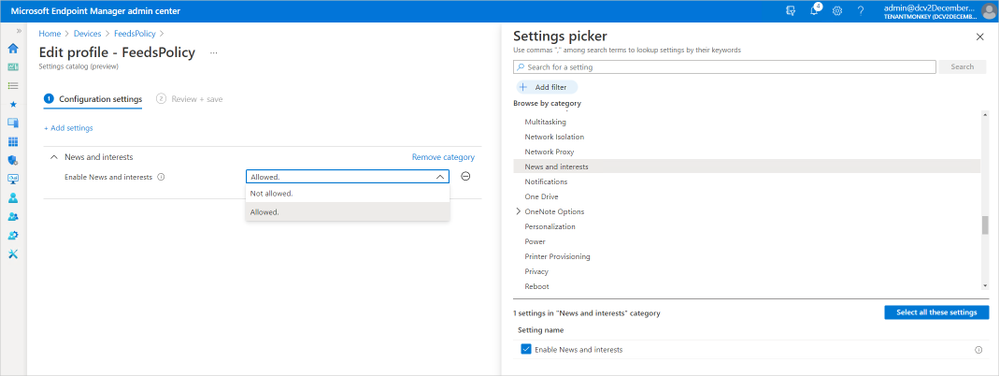 Configuring news and interests policy in Microsoft Endpoint Manager