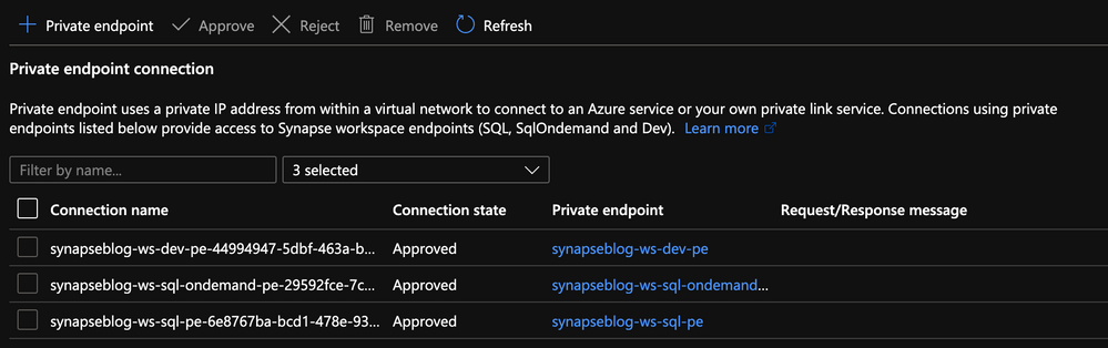 Private Endpoints created in the portal