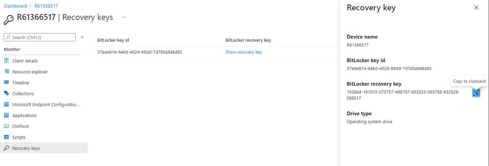 bitlocker recovery keys in mem admin center