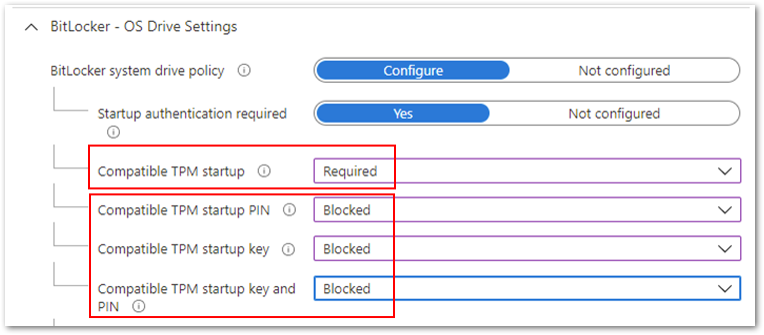 Compatible TPM startup to Required and the remaining three settings to Blocked.