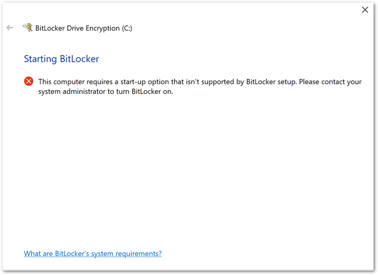 Example BitLocker Drive Encryption error when initiating the encryption from the device.