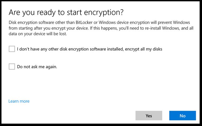 User experience to start BitLocker encryption.