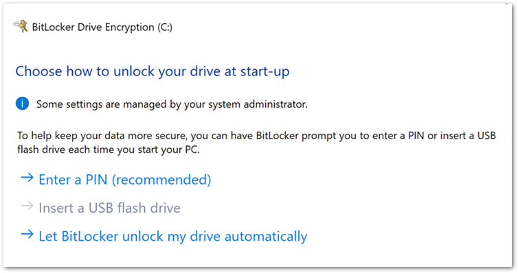 User experience to start encryption from the BitLocker Drive Encryption wizard.