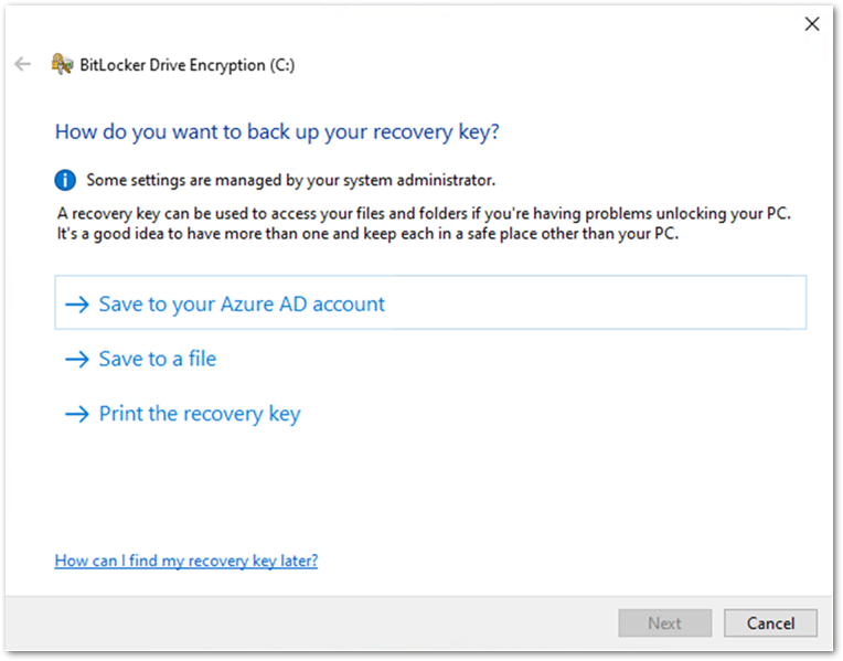 User experience to backup a BitLocker key in the BitLocker Drive Encryption wizard.