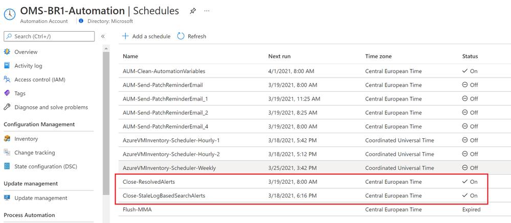 Azure Automation Schedules