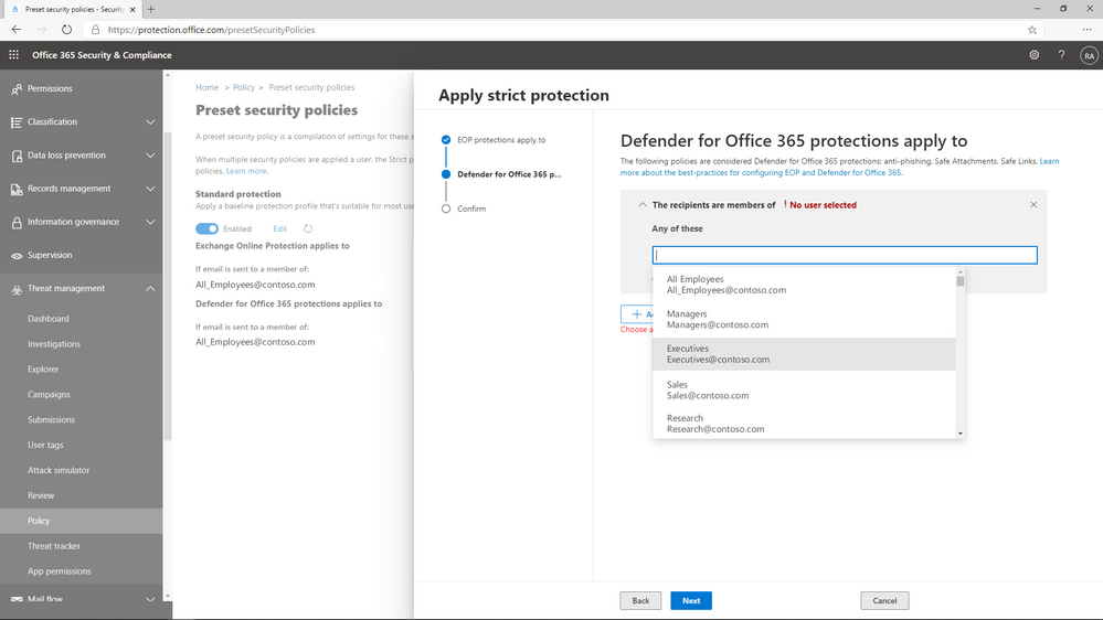 Figure 2: Preset policies can be applied to users, groups, or domains.