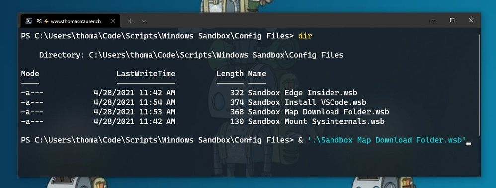 Windows Sandbox Configuration Files start from Windows Terminal