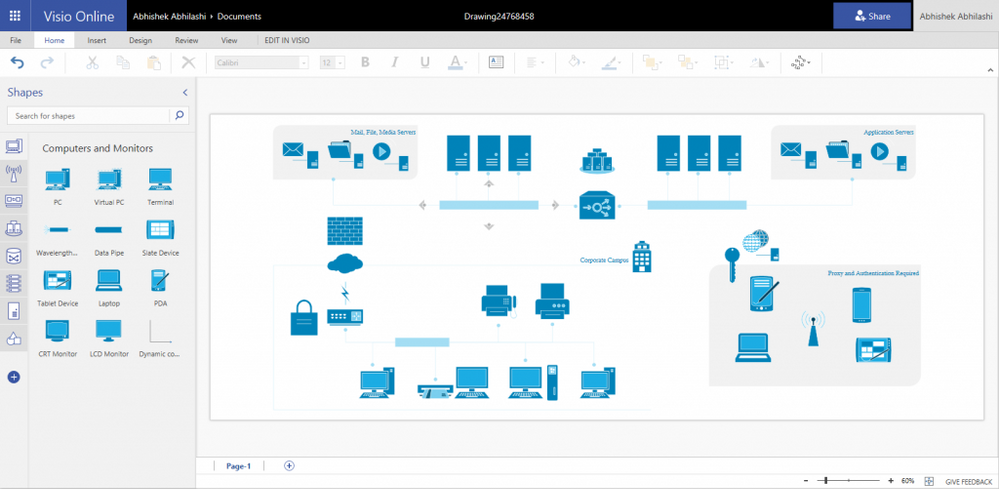 Build almost any kind of network diagram using premade templates and designed network shapes.