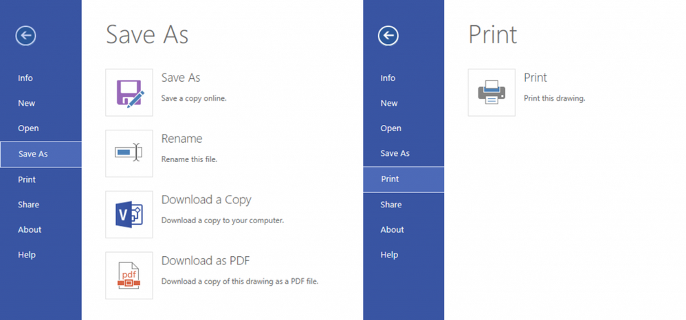 Export or print your diagrams directly from within Visio Online.