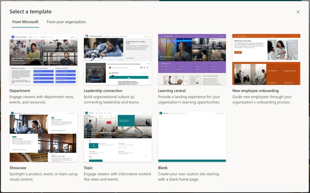 You'll find Microsoft-provided templates when you create new sites in Microsoft 365, alongside any custom templates you may have deployed.