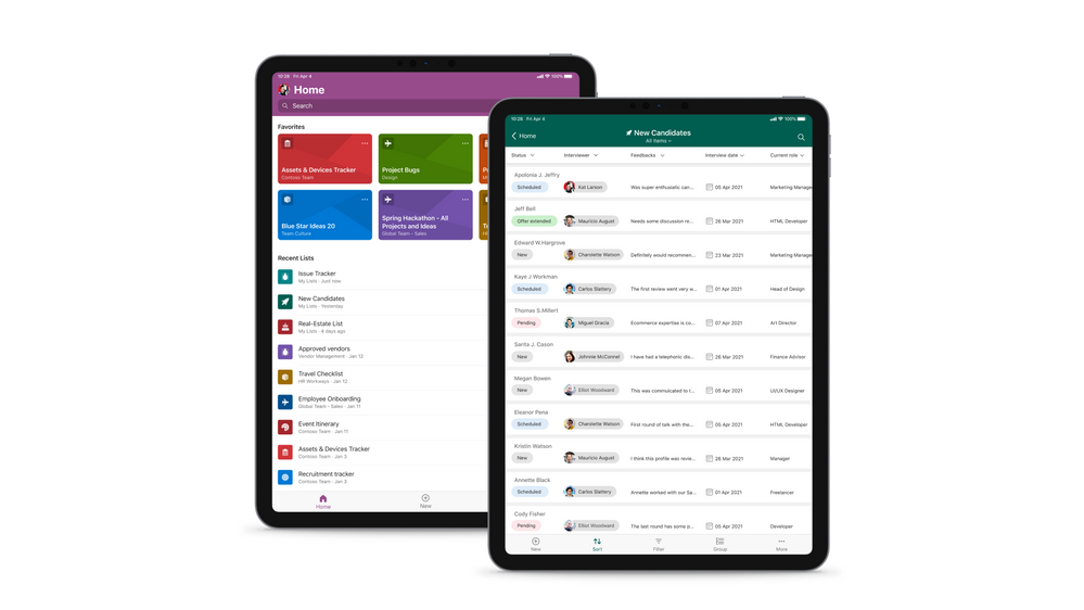Microsoft Lists for iOS on an iPad, showing the main home screen with Search, and Favorites and Recent lists (left), and working on an individual 'New Candidates' list (right).