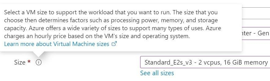 Azure portal VM size information