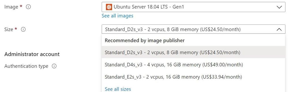Azure portal showing recommended sizes for the selected image