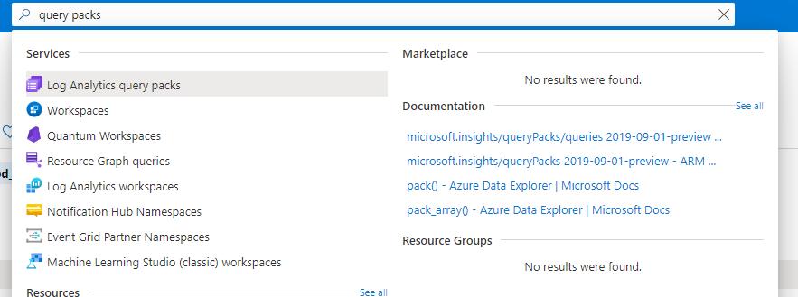Log Analytics query packs Azure resource.png
