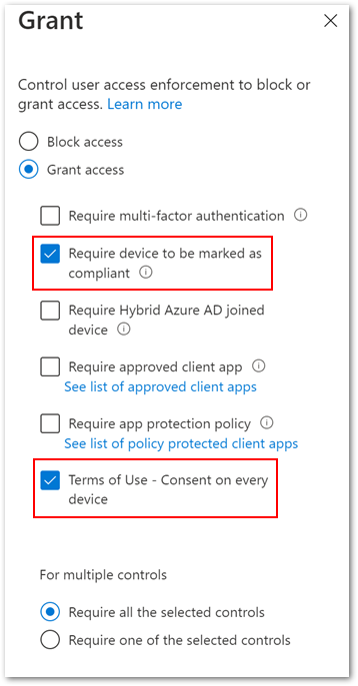 """Example screenshot of configuring both the """"Require device to be marked as compliant"""" and """"Terms of Use"""" policies under the Grant control"""