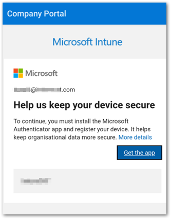 """Example screenshot of the """"Help us keep your device secure"""" message"""