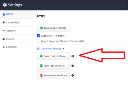 Exporting the root certificate in Fiddler