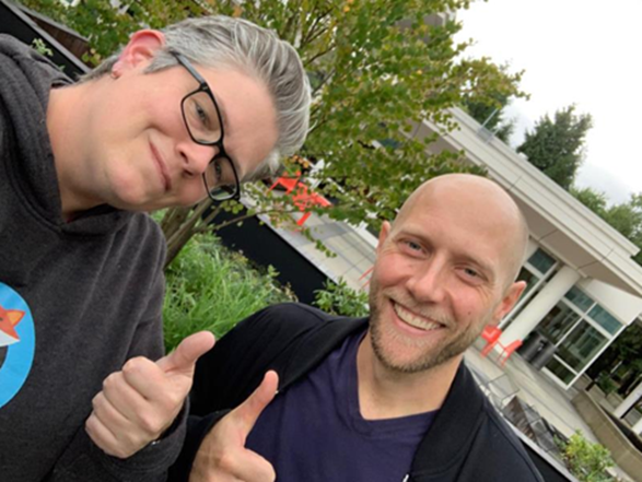 Lucas Joppa, Chief Environmental Officer at Microsoft with Sarah on filming day - September 2019