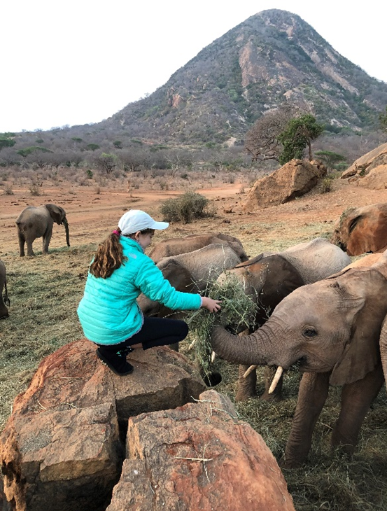 Kate with the orphans at the Sheldrick Wildlife Trust