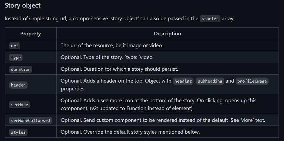 Story object properties