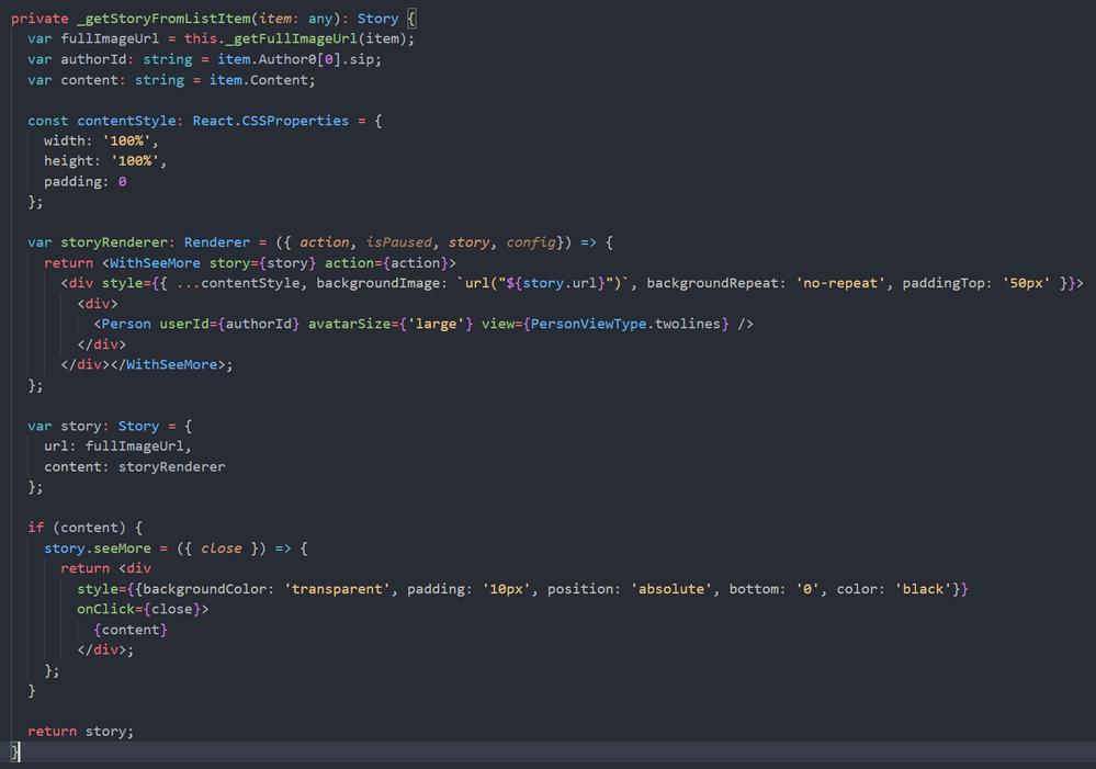 Story custom render function