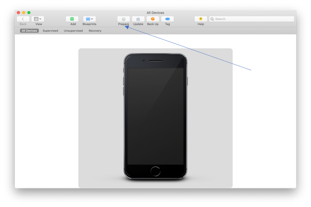 """Screenshot of Apple Configurator 2 with an arrow pointing to the """"Prepare"""" option"""