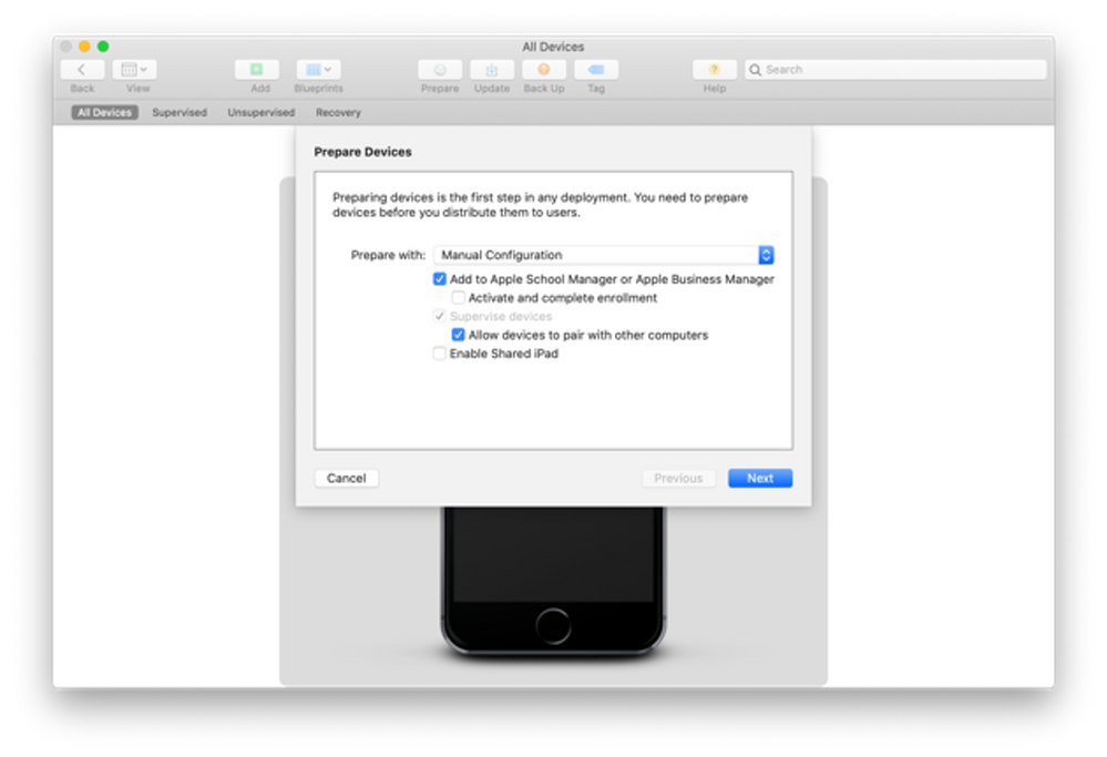 "Apple Configurator 2 - Prepare Devices"" menu"