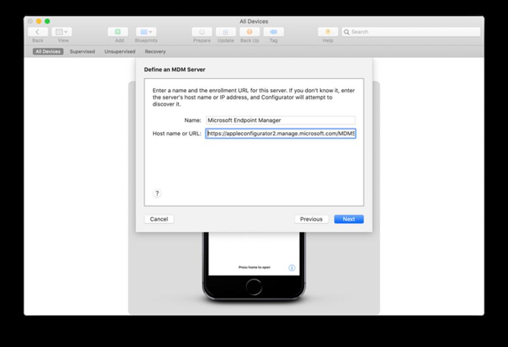 """Apple Configurator 2 - """"Define an MDM Server"""" menu"""