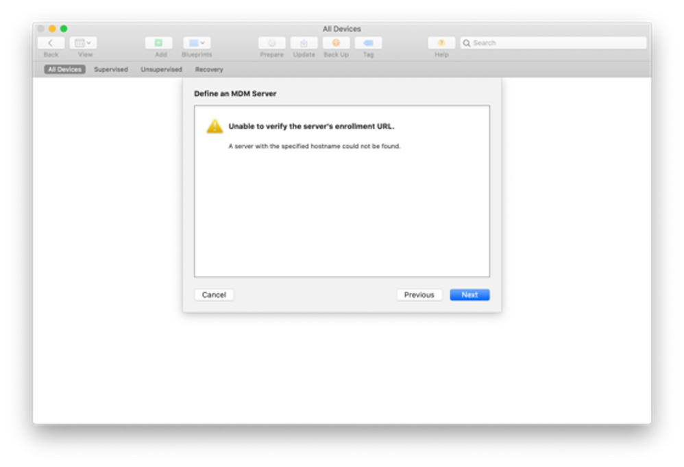 """Apple Configurator 2 - """"Define an MDM Server"""" menu with the warning text: """"Unable to verify the enrollment URL"""""""