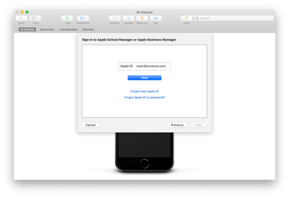 Apple Configurator 2 - Sign in to Apple School Manager or Apple Business Manager menu