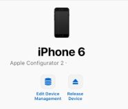 Screenshot of an Apple iPhone 6 device in the ABM/ASM console