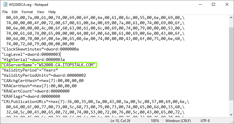 Modify registry file