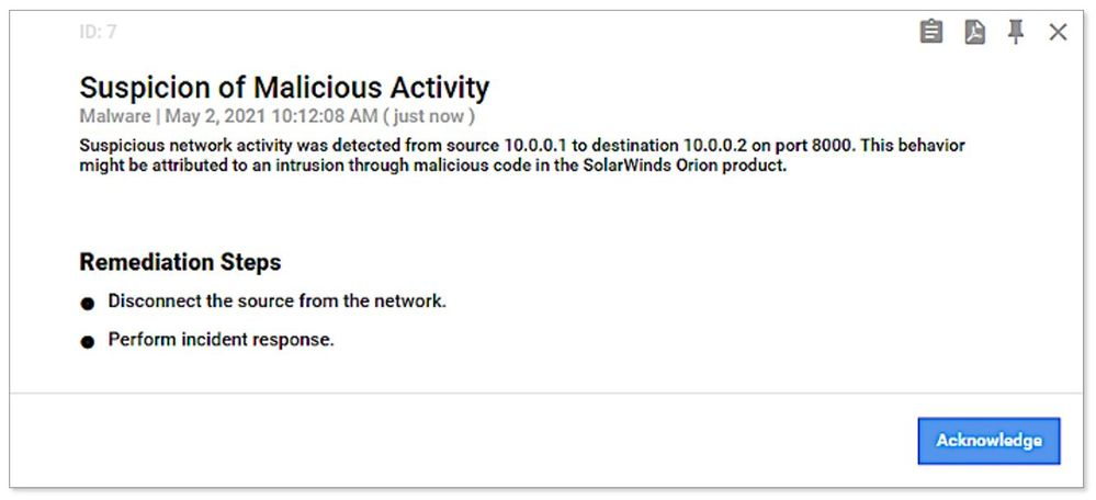 Example of SolarWinds threat alert generated from threat intelligence information