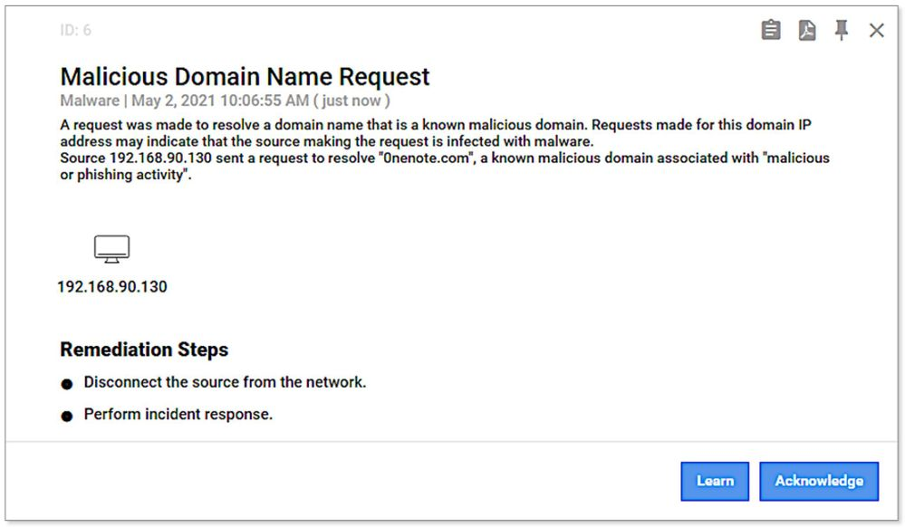 Example of malicious DNS request alert generated from threat intelligence information