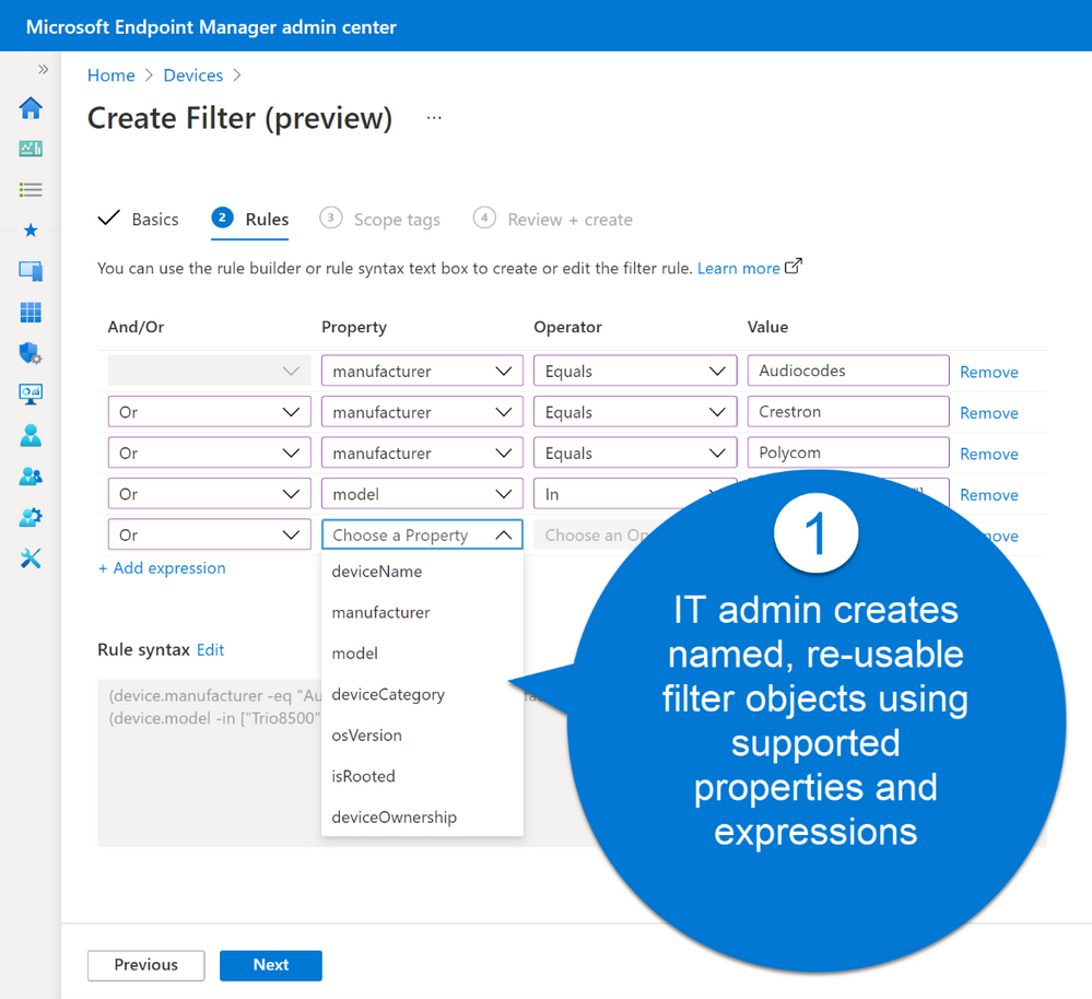 Microsoft Endpoint Manager admin center Create Filter (preview).png
