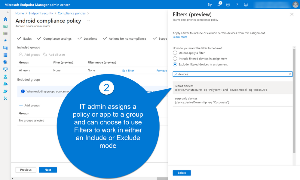 Microsoft Endpoint Manager admin center Android compliance policy.png