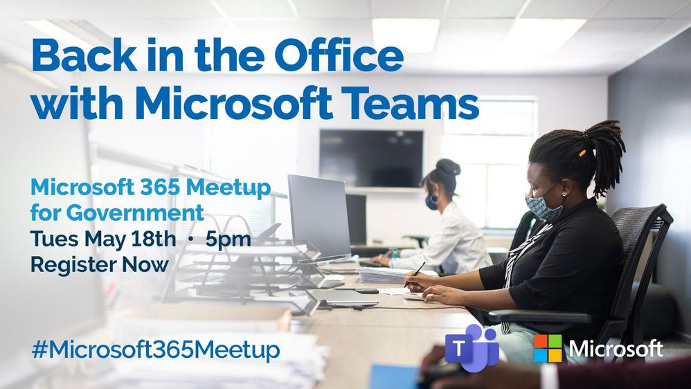 Back in the Office with Microsoft Teams - Professional woman is depicted in an office using teams.