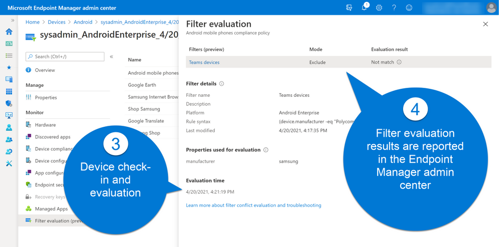 Microsoft Endpoint Manager admin center Android compliance policy filter evaluation.png