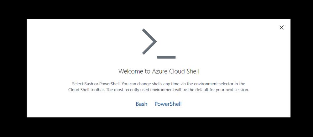 Welcome screen Azure Shell