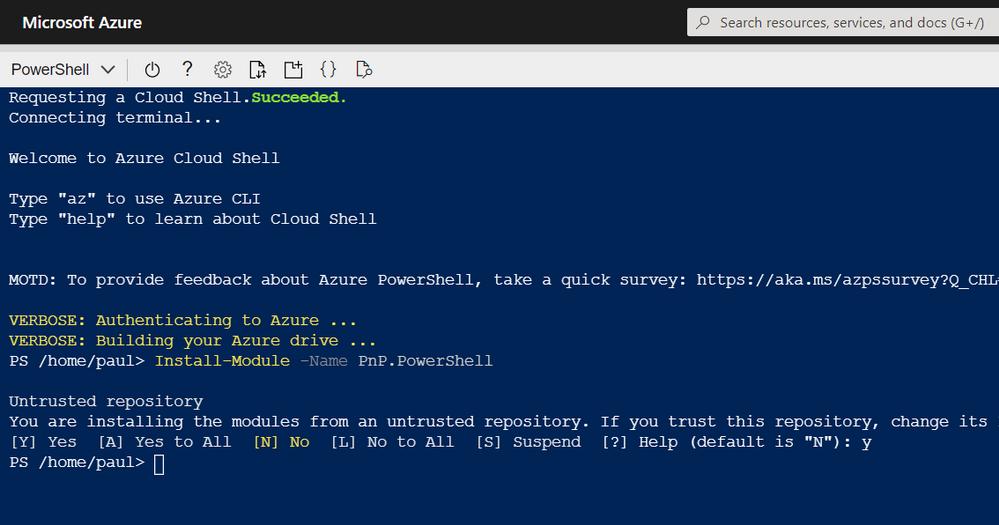 Azure Shell - Install PnP PowerShell