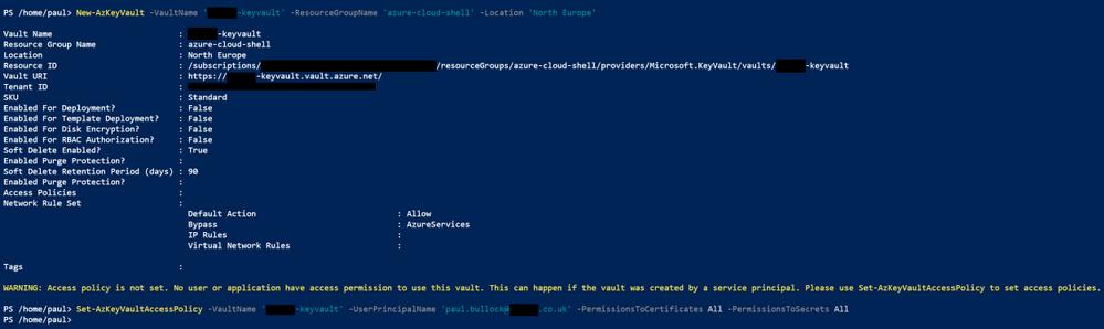 Azure Shell - Create KeyVault