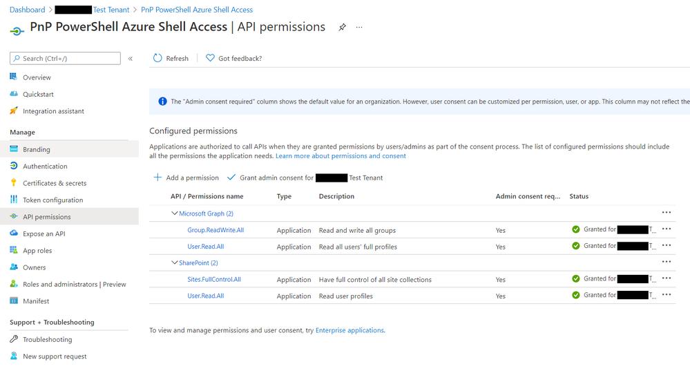 Azure App - API permissions