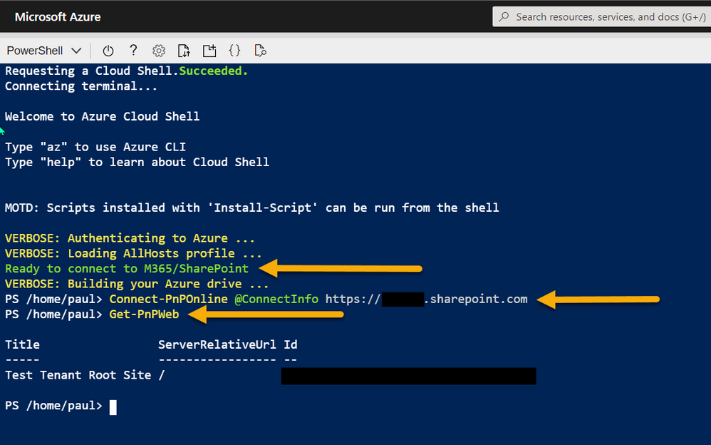 Azure Shell - connecting with PnP PowerShell