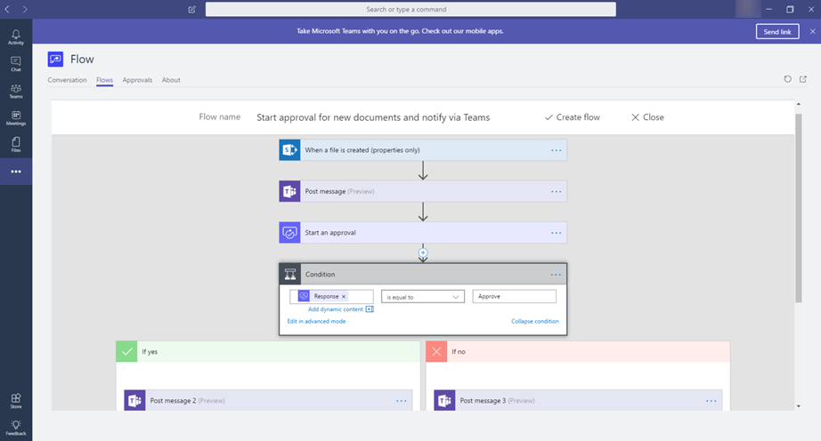 Automate tasks with Microsoft Flow in Teams