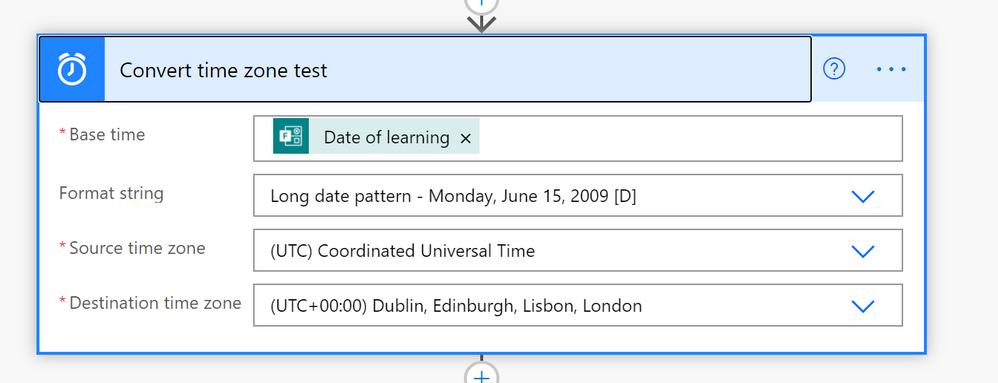 This is how I've configured my ConvertTimeZone action