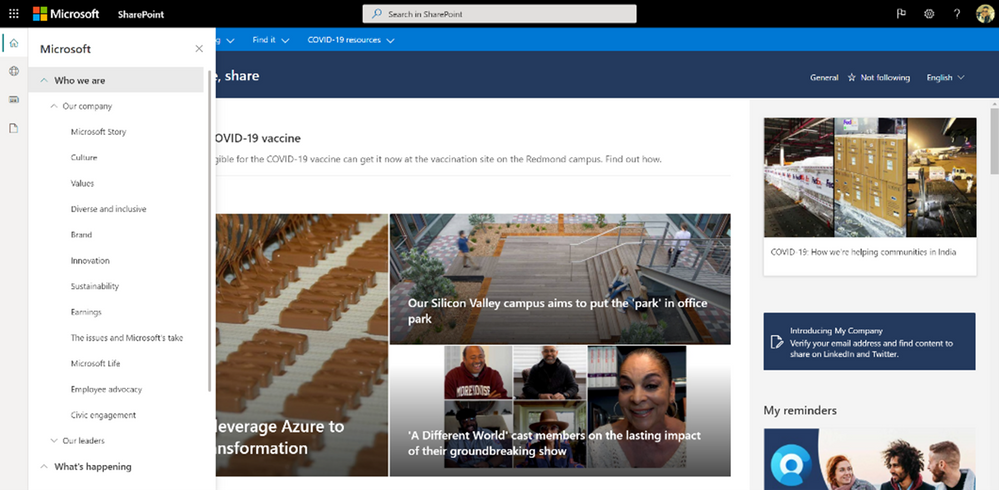 The SP App bar used on Microsoft's intranet