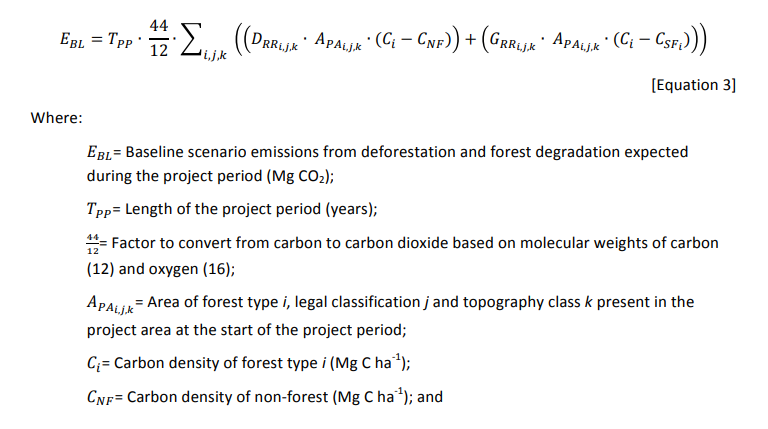 This Planvivo formula for baseline emission estimation