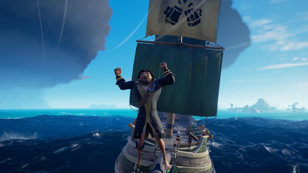 Pirate Captain Headleand celebrating a successful mission